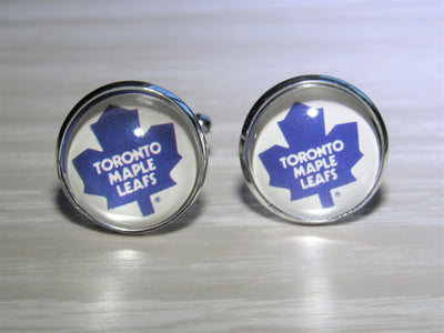 Toronto Maple Leafs Cufflinks made from Hockey Cards, Wedding Gift, Gift for Men, Recycled Hockey Card Cufflinks,  Gift for Dad