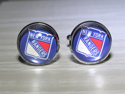 New York Rangers Cufflinks made from Hockey Cards, Wedding Gift, Gift for Men, Recycled Hockey Card Cufflinks,  Gift for Dad