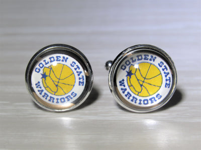 Golden State Warriors Cufflinks made from Recycled Basketball Cards, Wedding Gift, Gift for Men, Basketball Card Cufflinks, Gift for Dad