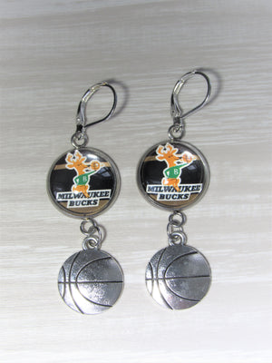 Milwaukee Bucks Sterling Silver Earrings made from Recycled Basketball Cards, Great for Game Day, Birthday Gift, Gift for Woman