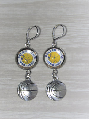 Golden State Warriors Sterling Silver Earrings made from Recycled Basketball Cards, Great for Game Day, Birthday Gift, Gift for Woman