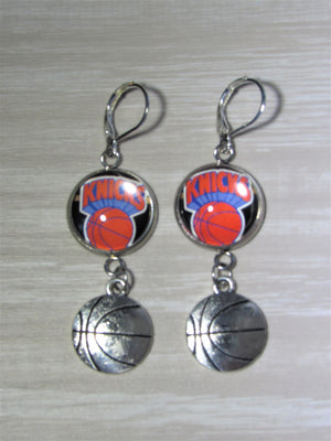 New York Knicks Sterling Silver Earrings made from Recycled Basketball Cards, Great for Game Day, Birthday Gift, Gift for Woman
