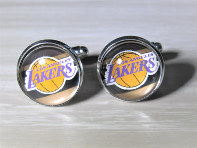 Los Angeles Lakers Cufflinks made from Recycled Basketball Cards, Wedding Gift, Gift for Men, Basketball Card Cufflinks, Gift for Dad