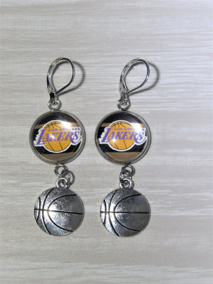 Los Angeles Lakers Sterling Silver Earrings made from Recycled Basketball Cards, Great for Game Day, Birthday Gift, Gift for Woman