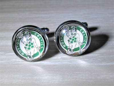 Boston Celtics Cufflinks made from Recycled Basketball Cards, Wedding Gift, Gift for Men, Basketball Card Cufflinks, Gift for Dad