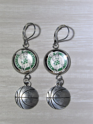 Boston Celtics Sterling Silver Earrings made from Recycled Basketball Cards, Great for Game Day, Birthday Gift, Gift for Woman