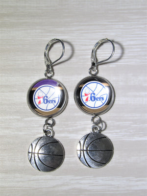 Philadelphia 76ers Sterling Silver Earrings made from Recycled Basketball Cards, Great for Game Day, Birthday Gift, Gift for Woman