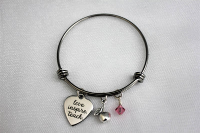 Love Inspire Teach Charm Bracelet w/ Apple Charm and Swarovski Bead, Laser Engraved