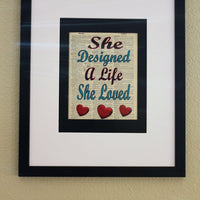 She Designed A Life She Loved Dictionary Print, Wall Décor, Office Print