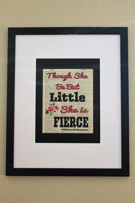 Though She Be But Little She Is Fierce William Shakespeare Quote Dictionary Page, Wall Décor
