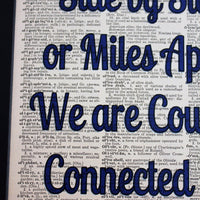 Side by Side or Miles Apart We are Cousins Connected by Heart Dictionary Print, Wall Décor