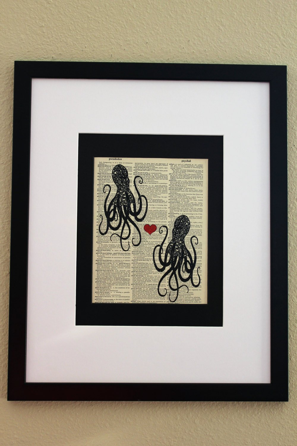 Two Octopus with Hearts Dictionary Print, Wall Décor, Bathroom Print, Beach House Print