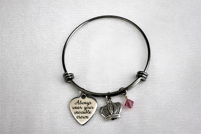 Always Wear Your Invisible Crown Bracelet w/ Crown Charm & Swarovski Birthstone, Laser Engraved