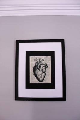 Anatomy Heart Dictionary Print, Medical Wall Art