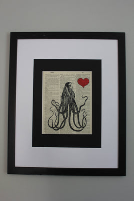 Victorian Octopus Girl Dictionary Print, Nautical Fantasy Steampunk Wall Décor