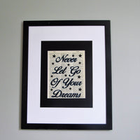 Never Let Go Of Your Dreams Dictionary Print, Nursery Wall Décor