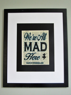 We're All Mad Here Alice In Wonderland Quote Dictionary Print, Nursery Wall Décor