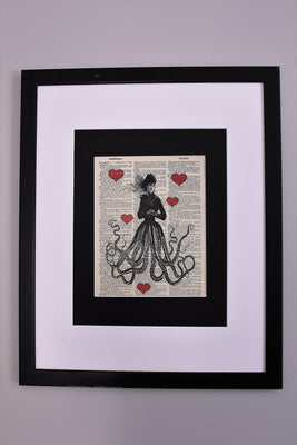 Victorian Octopus Lady Dictionary Print, Nautical Fantasy Steampunk Sea Life Lady Wall Décor