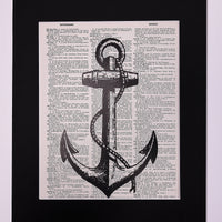 Large Nautical Anchor Dictionary Print, Wall Décor