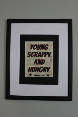 Young Scrappy And Hungry Hamilton Quote Dictionary Print, Wall Décor