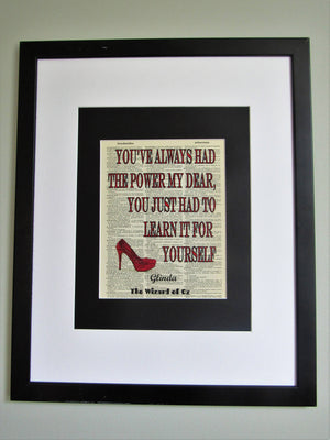 You've Always Had The Power My Dear, Wizard Of Oz Quote Dictionary Print, Wall Décor
