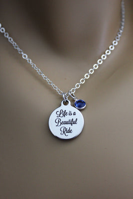 Life Is A Beautiful Ride Laser Engraved Necklace With Swarovski Birthstone Crystal