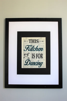 This Kitchen Is For Dancing Dictionary Print, Wall Décor