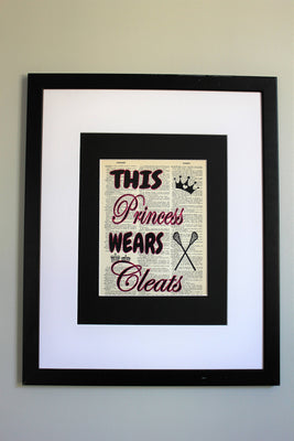 This Princess Wears Cleats Lacrosse Dictionary Print, Wall Décor