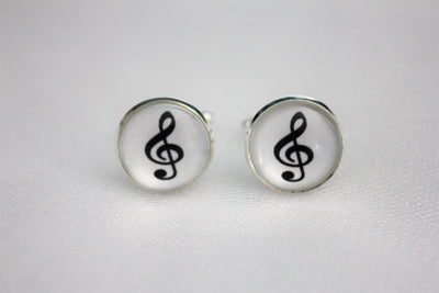 Treble Clef Cufflinks Music Note Jewelry, Wedding, Glass