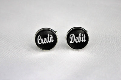 Credit & Debit Accountant Cufflinks, Groomsmen, Wedding Jewelry, Gift For Him, Formalwear