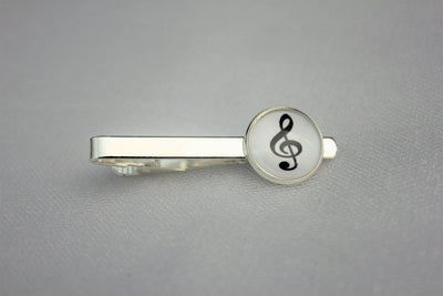 Treble Clef Tie Clip, Music Note Tie Bar, Wedding, Glass