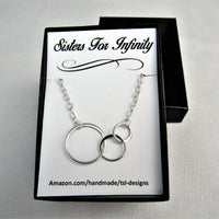 Sisters For Infinity, Three Connected Eternity Circles, Sterling Silver Infinity Necklace