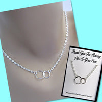 Thank You For Raising Me As Your Own, Two Eternity Circles, Sterling Silver Infinity Necklace