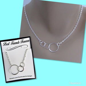 Best Friends Forever, Three Connected Eternity Circles, Sterling Silver Infinity Necklace