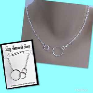 Today, Tomorror & Forever, Three Connected Eternity Circles, Sterling Silver Infinity Necklace