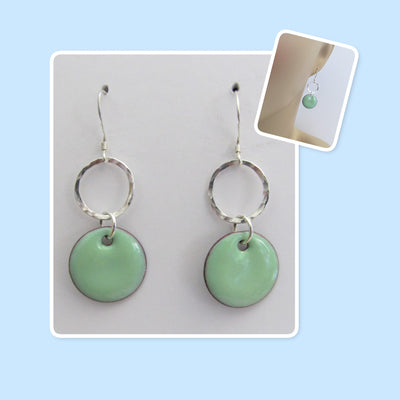 Mint Green Circle Enamel Sterling Silver Hammered Circle Earrings