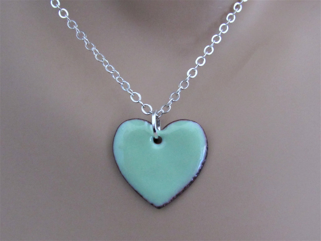 Mint Green Heart Enamel Sterling Silver Necklace
