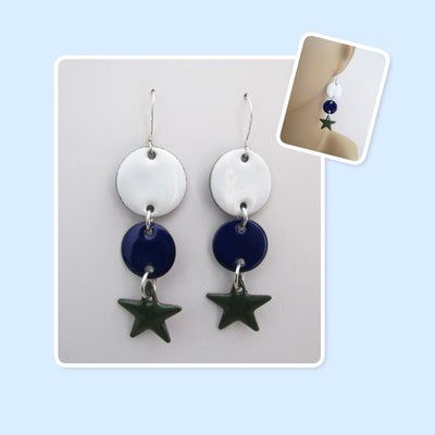 White, Blue and Forest Green Circle and Star Geometric Enamel Sterling Silver Long Earrings