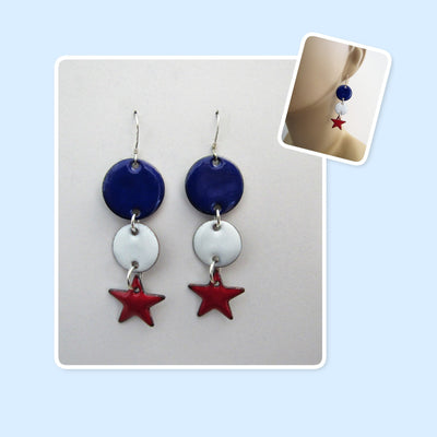 Red, White & Blue Patriotic Circles and Stars Enamel Sterling Silver Long Geometric Earrings