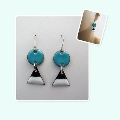 White, Black and Teal Circle and Triangle Enamel Sterling Silver Geometric Earrings