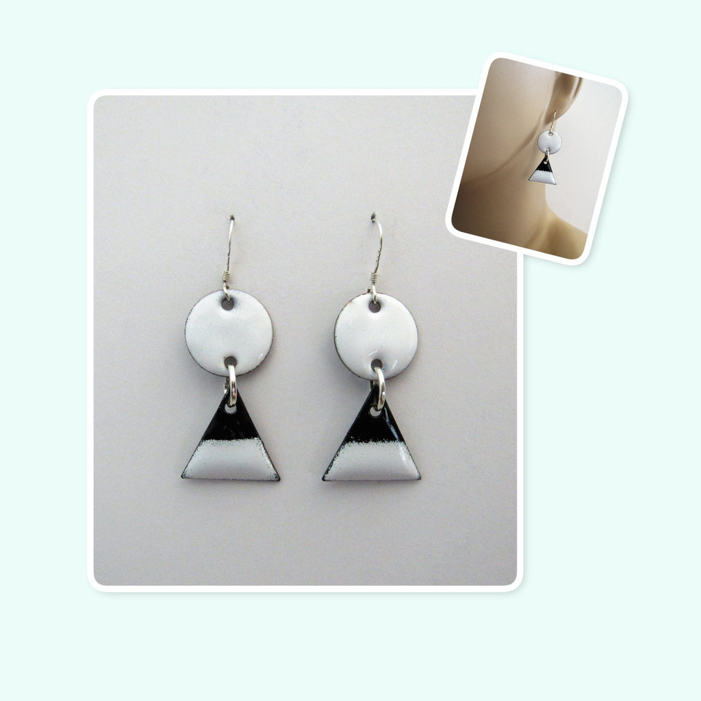 White and Black Circle and Triangle Enamel Sterling Silver Geometric Earrings