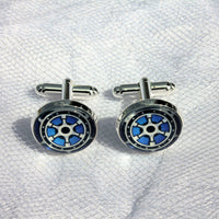 Nautical Boat Wheel Cufflinks, Groomsmen, Nautical Wedding Jewelry, Formalwear, Glass Domed