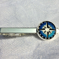 Nautical Compass Tie Clip, Boat Compass Tie Bar, Nautical Wedding Formalwear, Glass Domed