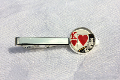 King of Hearts Tie Clip, Vegas Tie Bar, Groomsman Jewelry, Formalwear, Wedding
