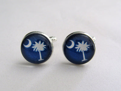 Blue South Carolina Palmetto Moon Cufflinks, Groomsmen, Nautical Jewelry, Charleston Wedding