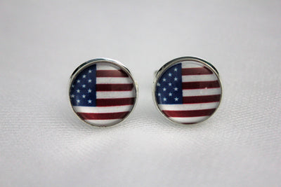 American Flag Cuff Links USA Patriotic Mens Jewelry, Wedding