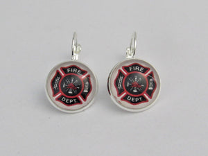Fire Fighter Lever Back Earrings, Fire Department