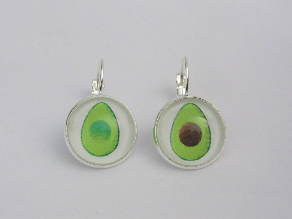 Avocado Lever Back Earrings Vegan, Glass