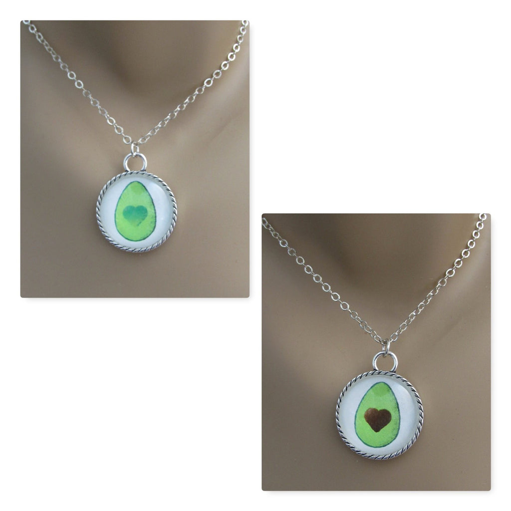 Two Avocado Friendship Pendants BFF Necklaces, Glass