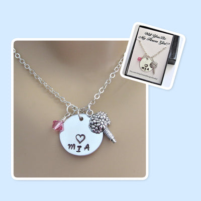 Will You Be My Flower Girl Personalized Necklace w/ Birthstone Bead & Flower Charm, Wedding